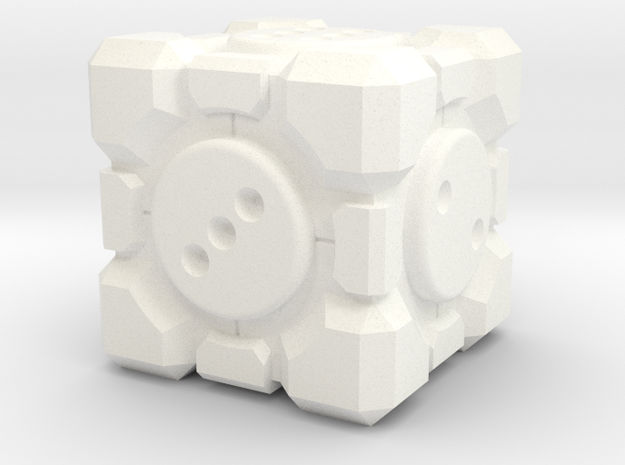Portal Companion Cube Dice 19mm in White Strong & Flexible Polished: d6