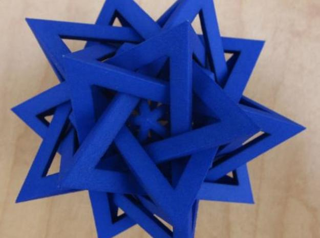 "Five Tetrahedra Plus 3d printed Printed and dyed using RIT ""royal blue""."