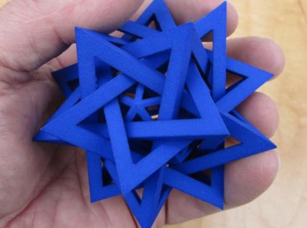 Five Tetrahedra Plus 3d printed In hand, showing size.