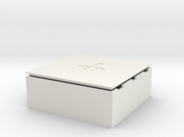 D&D Square Dice Box pr in White Natural Versatile Plastic