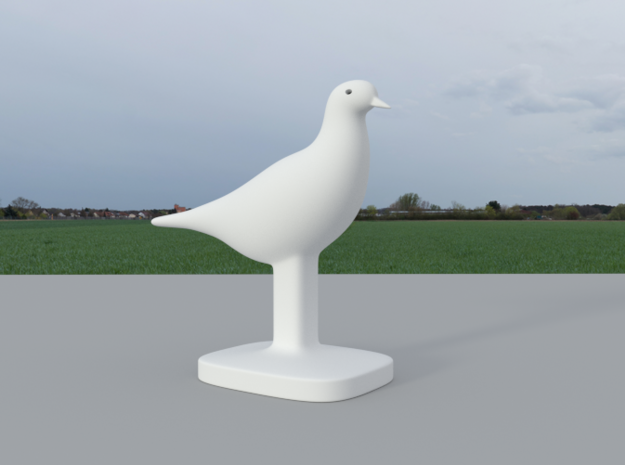 Pigeon Bird in White Natural Versatile Plastic