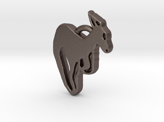 Kangaroo Pendant in Polished Bronzed Silver Steel
