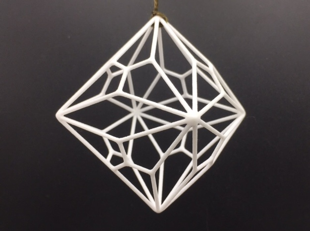 Polyornament - Joined Truncated Cube in White Strong & Flexible Polished