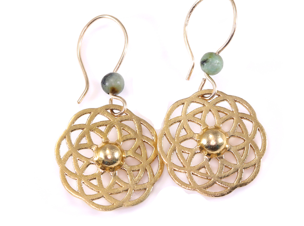 Round and Round Boho Earrings in Raw Brass