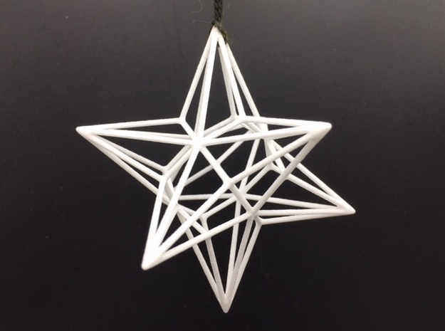 Polyhedron Ornament - Great Disdyakis Dodecahedron in White Processed Versatile Plastic