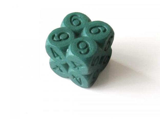 D6 2x2x2 Packed Spheres Dice 3d printed In Winter Green Strong and Flexible (other view)