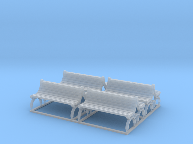 Bench type E (duble) - H0 ( 1:87 scale ) 4 Pcs set in Frosted Ultra Detail