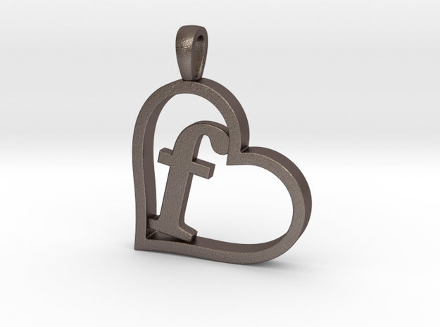 Alpha Heart 'F' Series 1 in Polished Bronzed Silver Steel