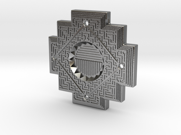 Inca Cross Amulet in Natural Silver: Small