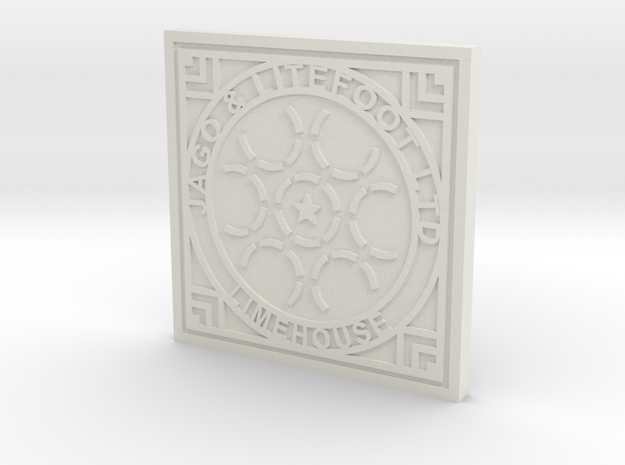 1:9 Scale Limehouse Manhole Cover in White Natural Versatile Plastic