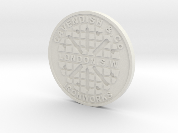 1:9 Scale London Manhole Cover in White Natural Versatile Plastic