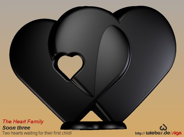 Heart Family - Soon three! (small size) 3d printed