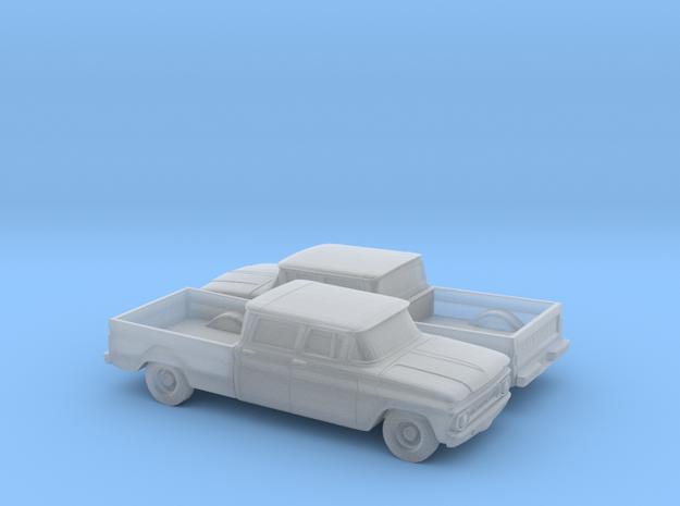 1/160 2X 1962 Chevrolet C10 Fleetside Crewcab in Smooth Fine Detail Plastic