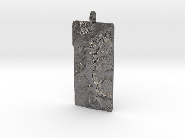 Island In The Sky Map Pendant: Large in Polished Nickel Steel