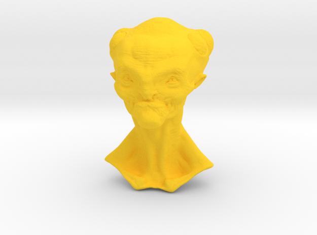 Granny Alien Bust  in Yellow Processed Versatile Plastic