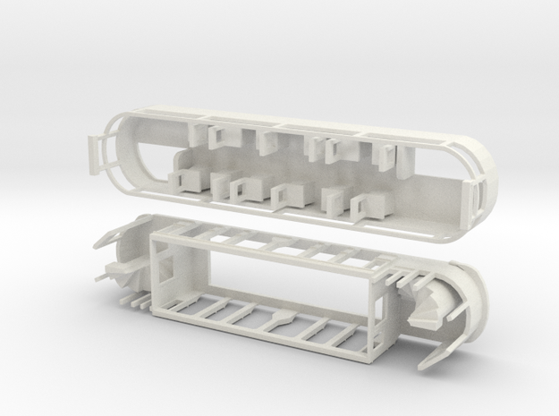 Eastbourne/Seaton Tramway Car 8 in White Natural Versatile Plastic