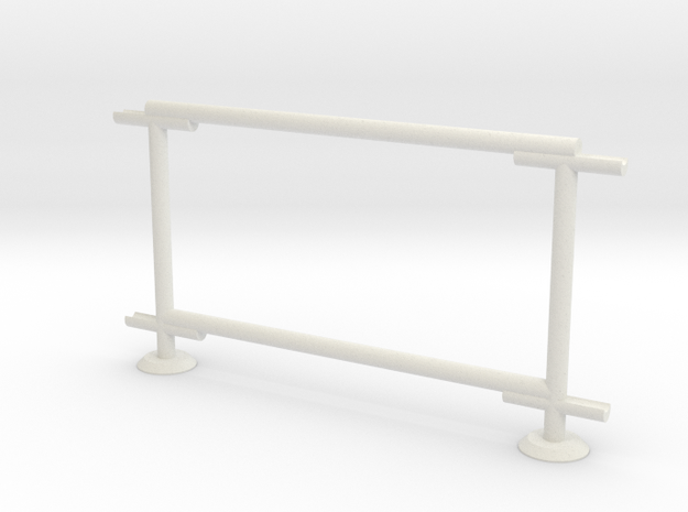6' Chain-link Barrier Fence   1-Bay (HO) in White Natural Versatile Plastic: 1:87 - HO