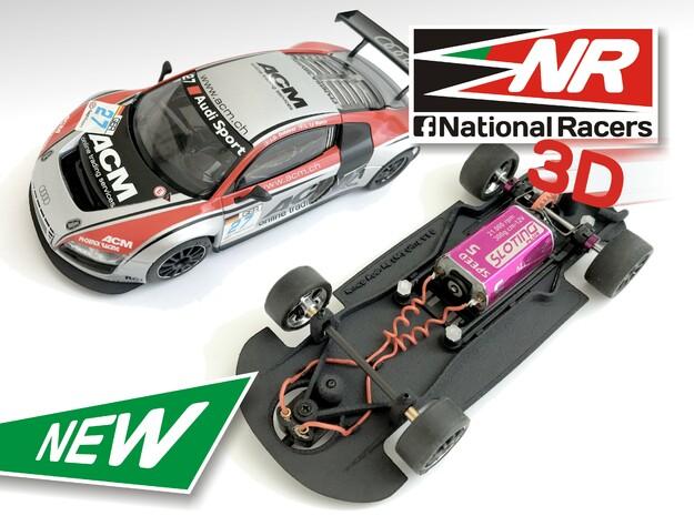 3D Chassis - Ninco Audi R8 LMS - Combo in Black Natural Versatile Plastic