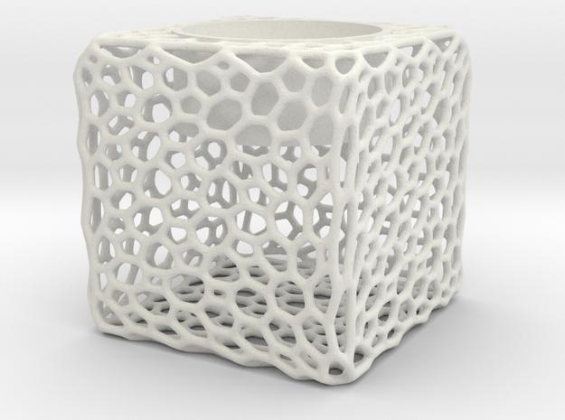 Candel Holder Voronoi in White Strong & Flexible