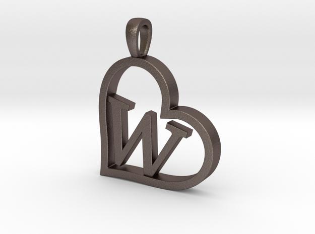 Alpha Heart 'W' Series 1 in Polished Bronzed Silver Steel