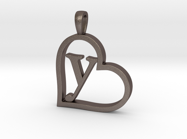Alpha Heart 'Y' Series 1 in Polished Bronzed Silver Steel