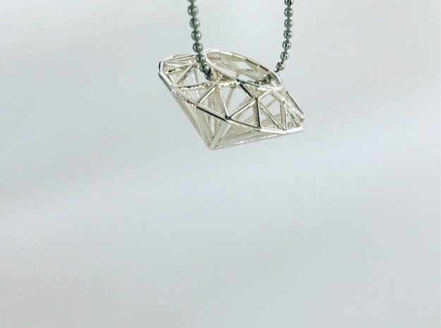Diamond necklace pendant in Polished Silver