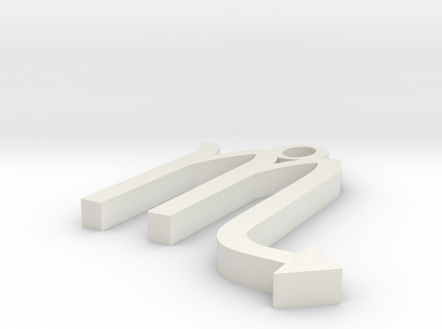 Scorpio Pendant in White Natural Versatile Plastic