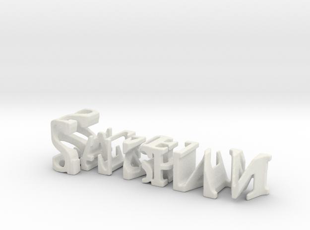 3dWordFlip: Saksham/Sharma in White Natural Versatile Plastic