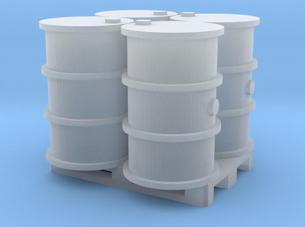 200 Liter 4 Fässer auf Europalette - 1:120 TT in Smooth Fine Detail Plastic