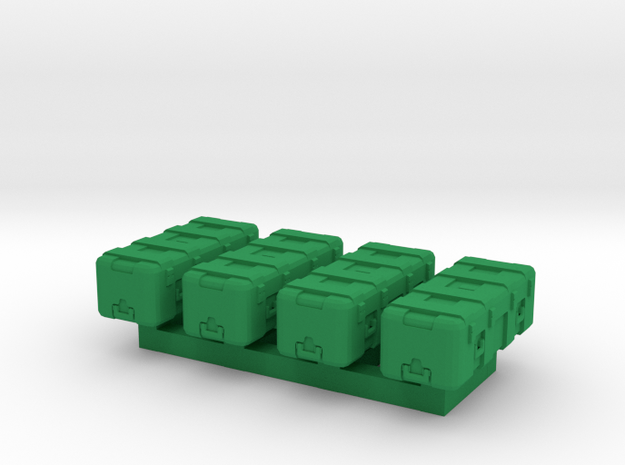 1/87 Scale Heavy Equipment Case x4 in Green Strong & Flexible Polished