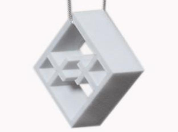 Tilted Mondrian Pendant in White Strong & Flexible Polished