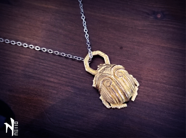 Beetle Pendant in Polished Gold Steel