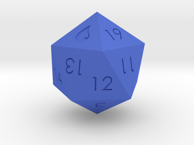 D20 Blue Mana Symbol (MTG) in Blue Strong & Flexible Polished: Medium
