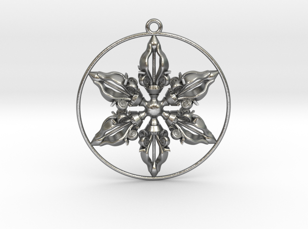 "Sextuple Dorje Pendant 2"" in Natural Silver"