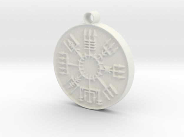 Vegvisir Viking Rune in White Natural Versatile Plastic