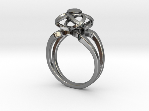 3-2 Enneper Curve Twin Ring (003) in Fine Detail Polished Silver