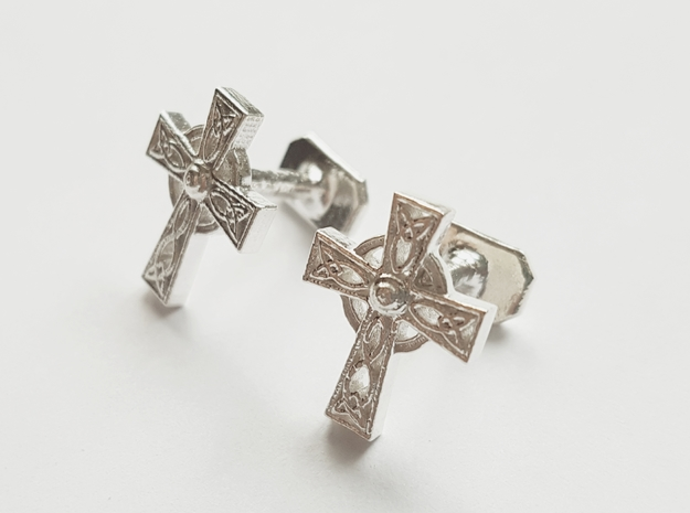 Celtic Cross Cufflinks in Natural Silver