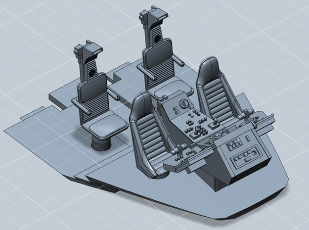 MILLENNIUM CABIN SEATS CONSOLE FLOOR MPC/ERTL 3d printed Millennium cockpit  with seats, console and floor, render.
