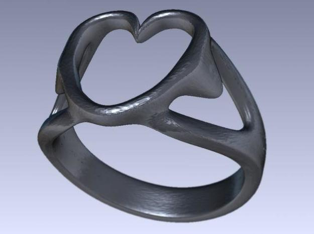 3-Heart Ring 3d printed Rendered stainless steel version