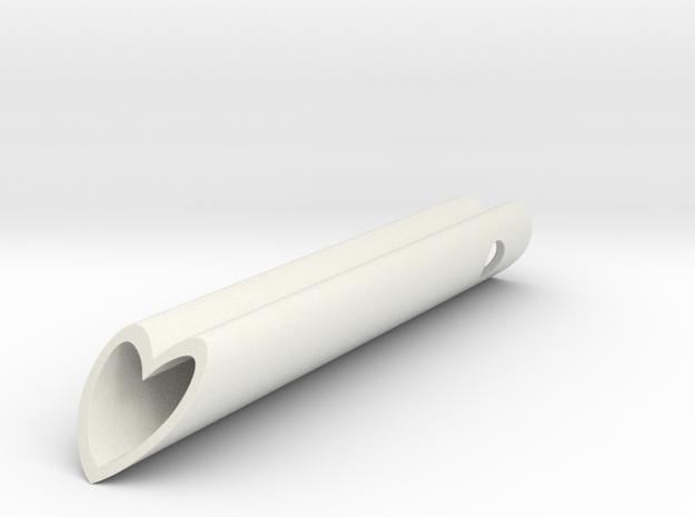 Heart Tube Charm Pendant, Love heart-shaped charm  in White Natural Versatile Plastic