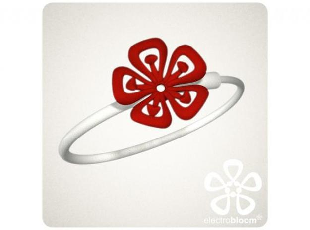 Lucy flower charm. 3d printed RED LUCY FLOWER CHARM ON WHITE SNAP BANGLE