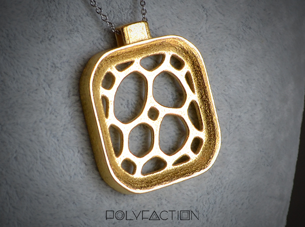 Surround ::: Square Pendant ::: v.01 in Polished Gold Steel