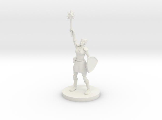 Female Elven Paladin / Cleric in White Natural Versatile Plastic