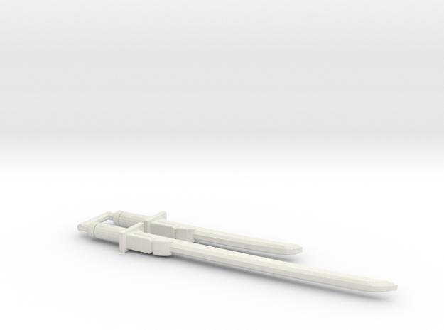 Bludgeon Swords (Katana and Wakizashi) 5mm Grip in White Natural Versatile Plastic