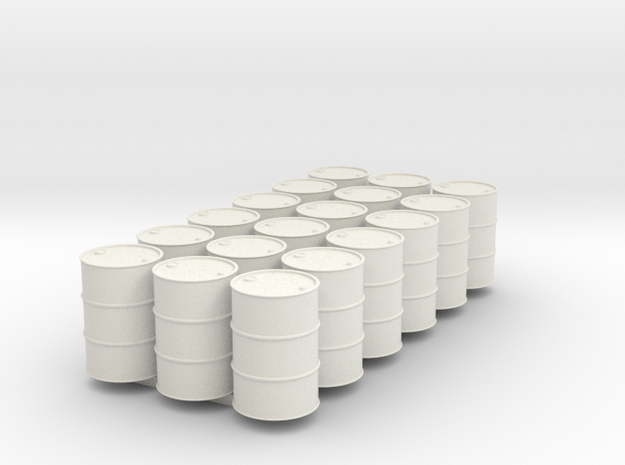 18 HO scale oil drums in White Natural Versatile Plastic