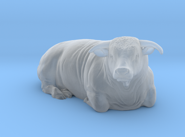1/64 Lying Horned Hereford Bull Right Turn in Frosted Ultra Detail