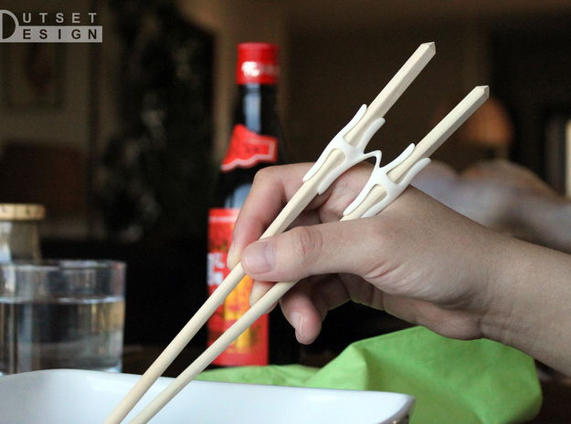 Universal Chopsticks Helper T2 in White Processed Versatile Plastic