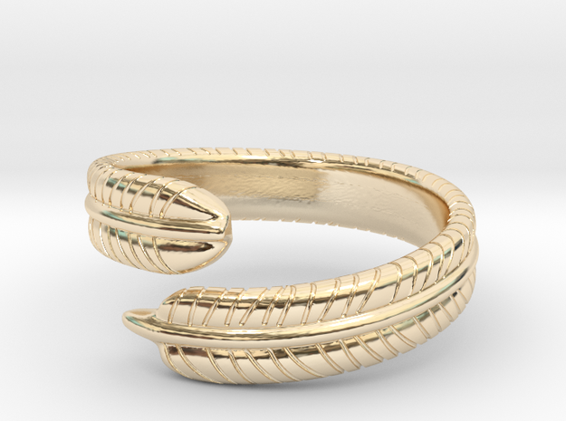 Feather Ring in 14k Gold Plated Brass: 6 / 51.5