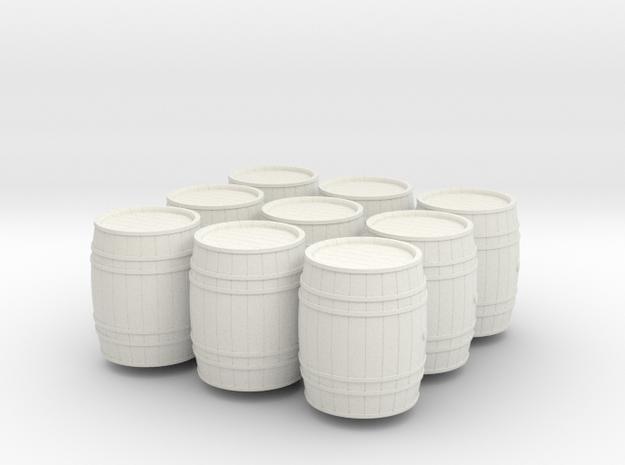 9 wooden barrels HO scale