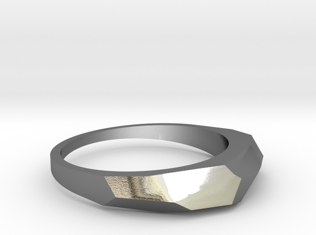 faceted ring in Polished Silver